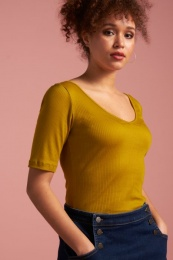 Carice V Top Tencel Rib Curry Yellow