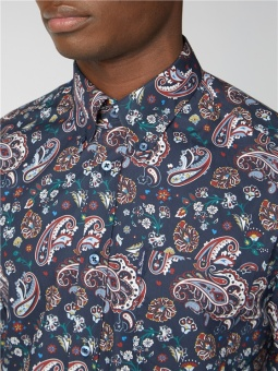 LS Colour Paisley Shirt Dark Navy