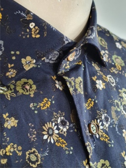 Carlos Cordoba Shirt Flower Charcoal