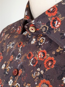Carlos Cordoba Shirt Flowers Brown