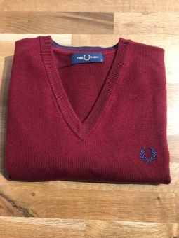 Classic Merino V Neck Jumper Dark Red