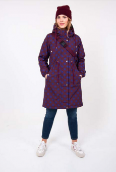 Flora Winter Parka Dark Bdx/Purple Blue DOTS