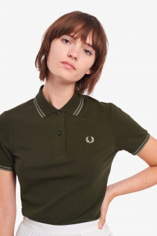 Twin Tipped Fred Perry Shirt Hunting Green