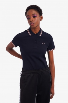 Fred Perry polo shirt Twin Tipped Navy / Chalky Pink