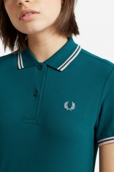 Twin Tipped Fred Perry Shirt Petrol/Ice pink
