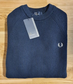 Fred Perry rib crew neck dk carbon