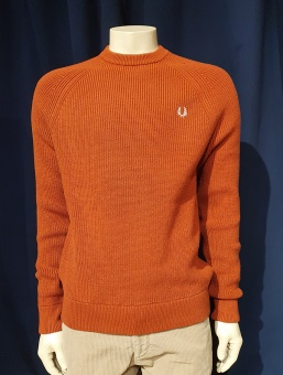 Fred Perry rib crew neck russet