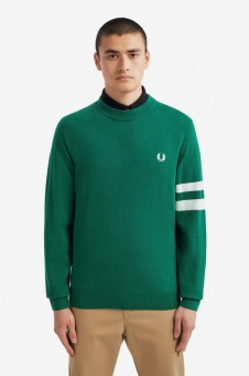 Tipped Sleeve Crew Neck Jumper Ivy