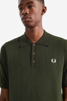 Argyle knitted shirt green