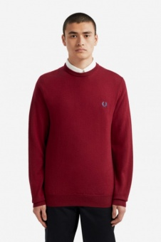 Classic Merino Crew Neck Jumper Dark Red