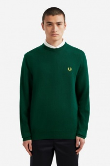 Classic Merino Crew Neck Jumper Evergreen