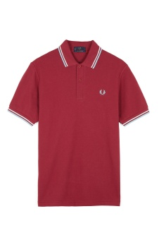 M12 The Fred Perry shirt Maroon/White/Ice