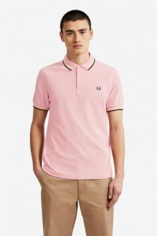 Fred Perry polo shirt Twin Tipped Silver pink/Soft Yellow/Black