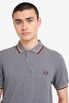 Twin Tipped Fred Perry Shirt Grey Marl/Champagne/Mahogany