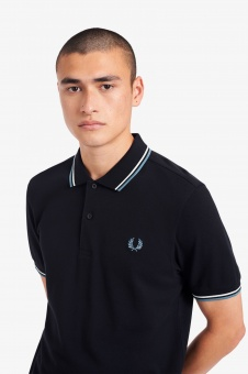 Fred Perry polo Shirt Twin tipped Navy/Snow/Smoke blue