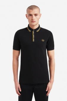 Tipped Placket Polo Shirt Black M8559