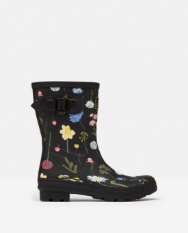 Molly Mid Height Wellies Black Floral