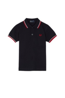 Kids twin tipped shirt navy/white/red