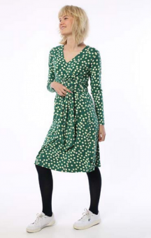 Valborg Dress Hunter Green/Chalk BIG FUNNY DOTS