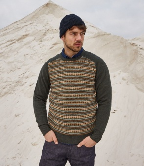 Hartford Fairisle crewneck green