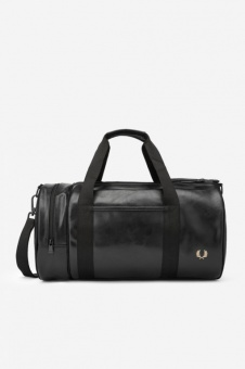 TONAL PU BARREL BAG black