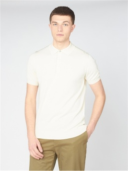 Ben Sherman KNITTED POLO IVORY