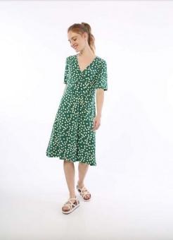 Wonderful Dress Hunter Green/Chalk Big funny dots
