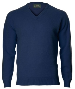 Alan Paine Kilsyth Saddle Shoulder V-neck Indigo