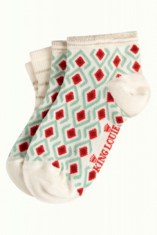 King Louie short socks 2-Pack Mosaic Cream