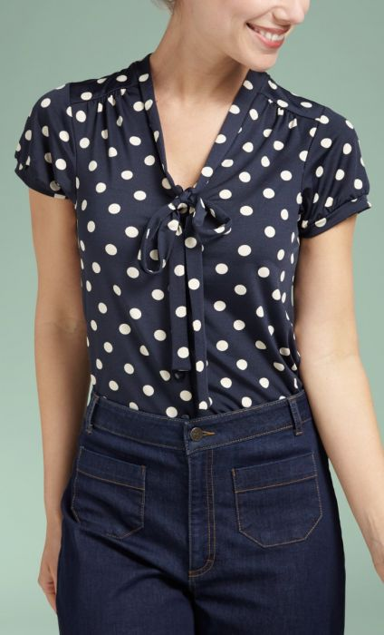 Bow Blouse Partypolka ink blue