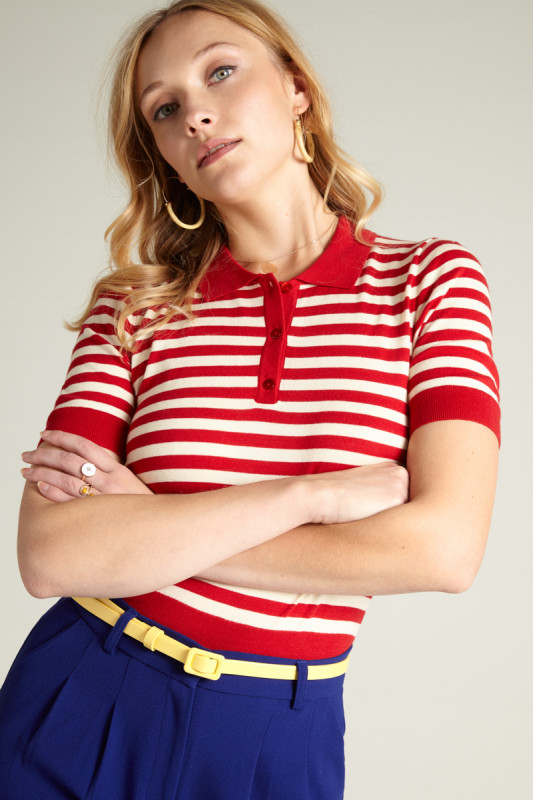 King Louie polo Classic Stripe red