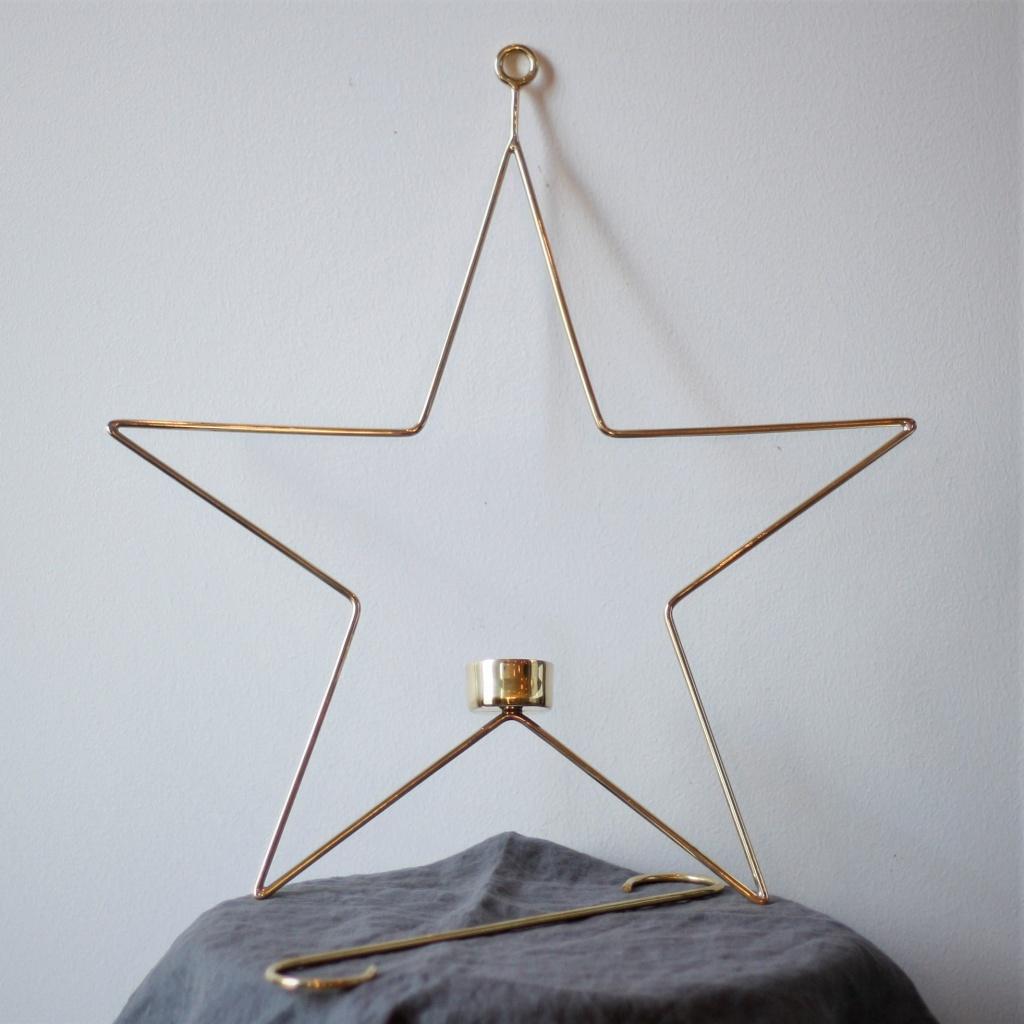 Ljusring Stjärna Oval 39 cm - Mässing