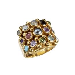 Ring Cookie Multi Semi Precious - Gold