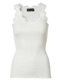 Silk Top With Vintage Lace - New White