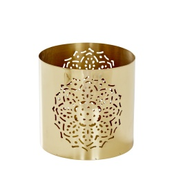 Flower-Pierced Lantern - Brass