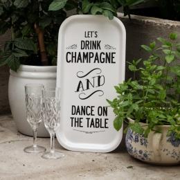 Champagne - Bricka 43x22 cm - Vit