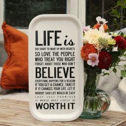 Life is - Bricka 43x22 cm - Vit