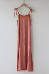 Painted Border String Dress - Pink/Terracotta