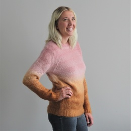 An Stripe dye crew neck sweater