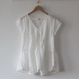 Cotton Simple Gather Top - White