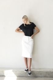 Ross Denim Skirt Organic - Ecru