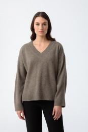 Tröja, Yak V-Neck Sweater - Oat Brown