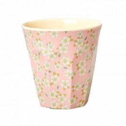 Medium Mugg - Rosa Små Blommor