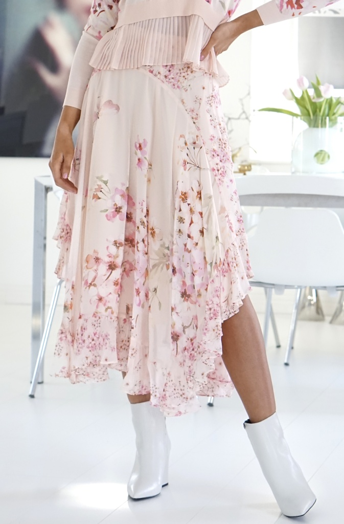 TWINSET - Floral Georgette Long Skirt