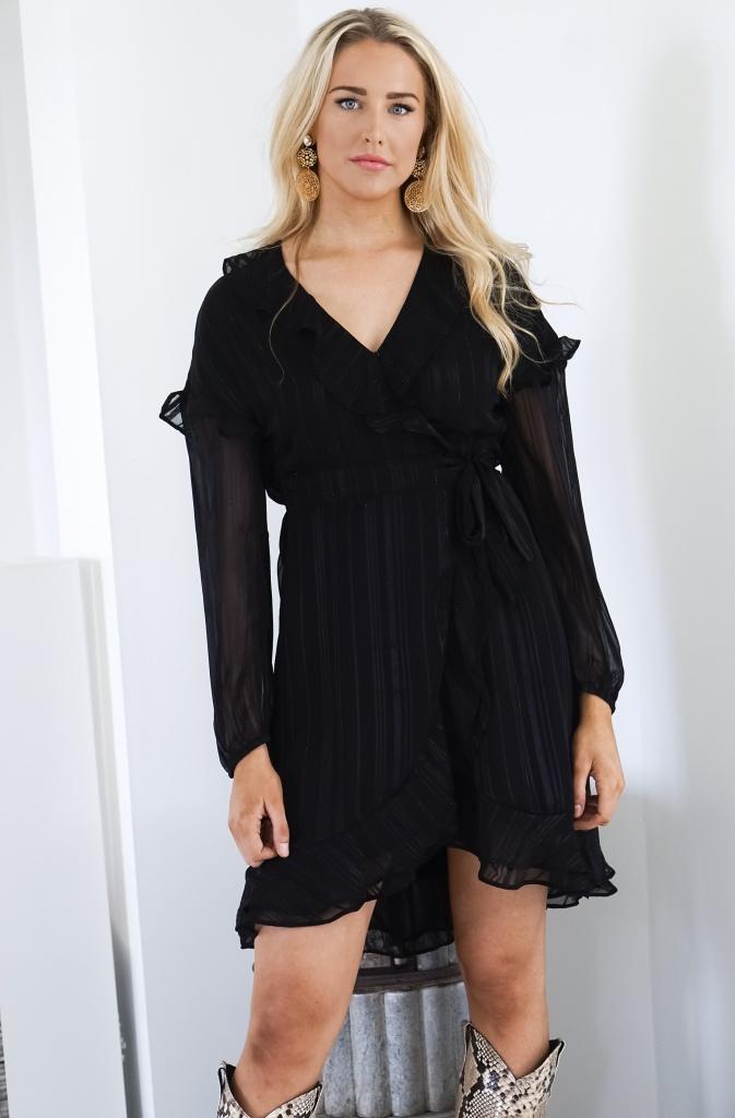 ALIX THE LABEL - Lurex Stripe Dress Black
