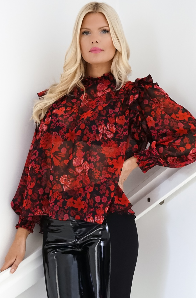 IMPERIAL - Ultralightweight Red Blouse with Flounce Sleeves