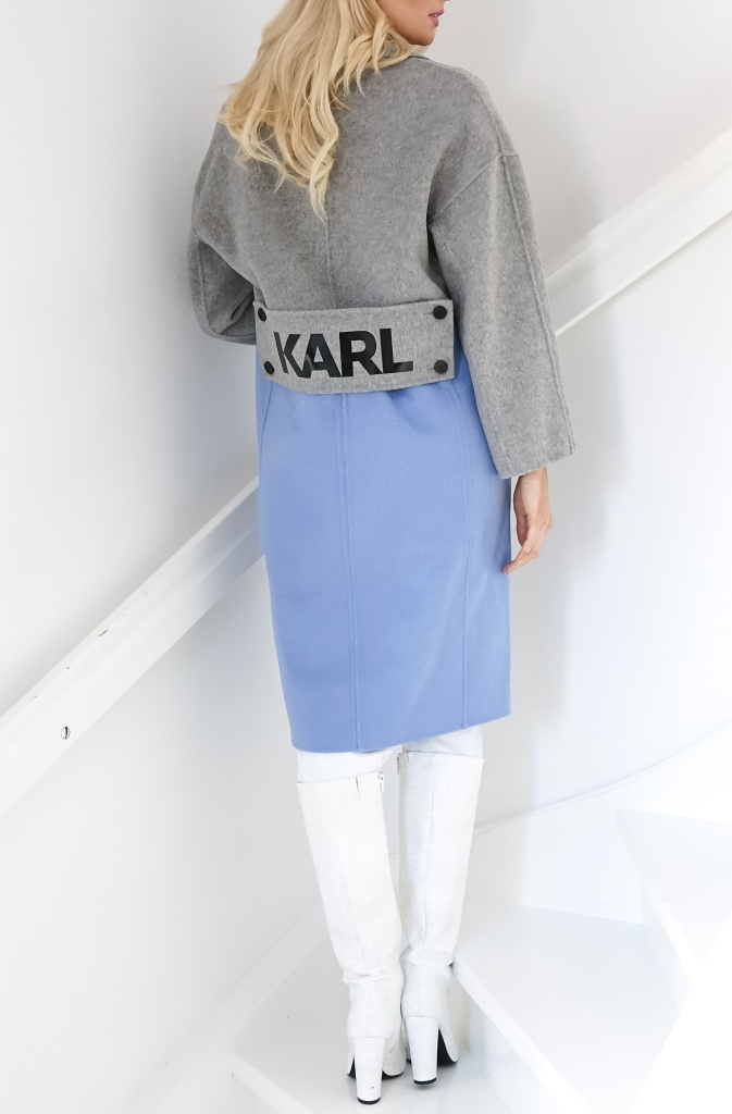 KARL LAGERFELD - Coat Karl Blue Grey