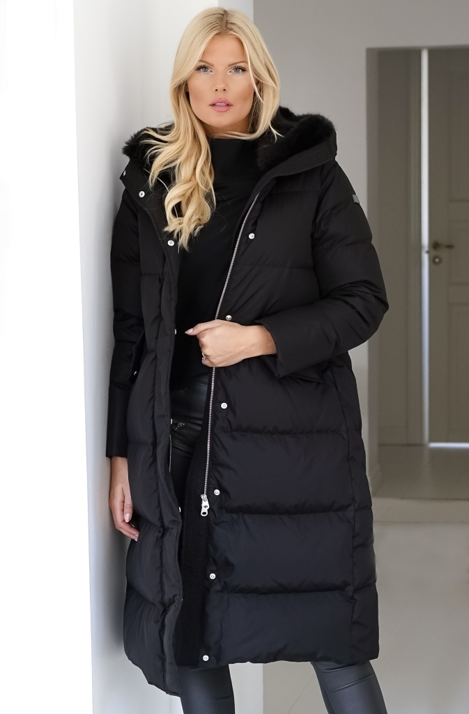 LEMPELIUS - Lång Dunkappa Faux Fur Black