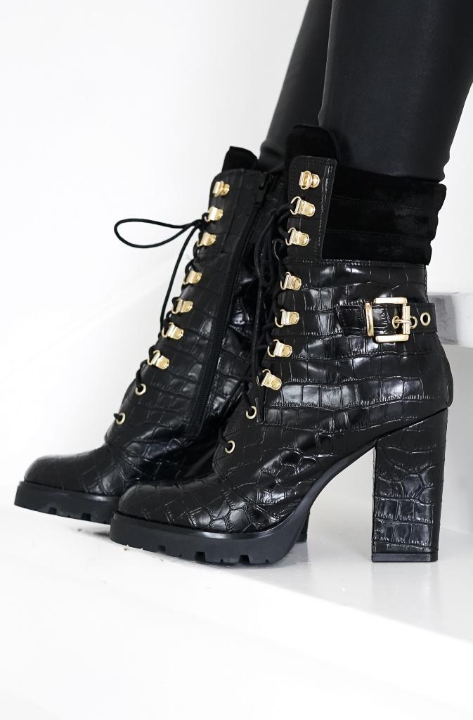 LESTROSA - Black Croco Boot with Gold 5056