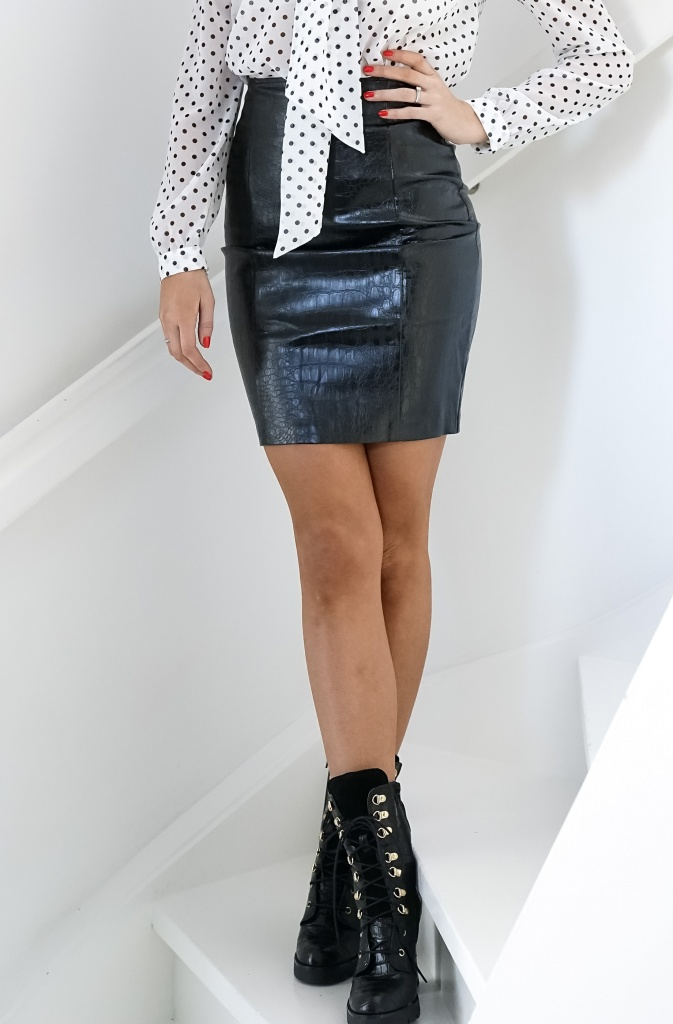 NA-KD - Embossed Croco PU Skirt